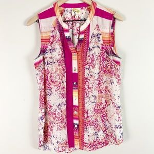 Anthro Fig & Flower Colorful Button up Tank Top M